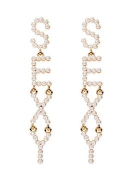 SEXY Letter Small Faux Pearls Trendy Long Earrings
