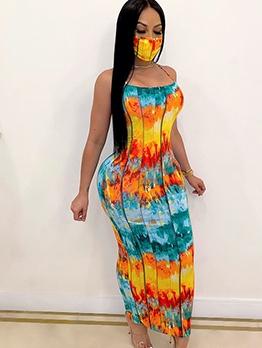 Fashion Tie Dye Backless Maxi Dress Without Mask