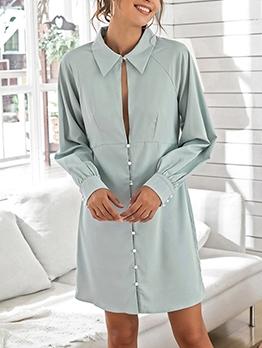 Sexy Single-Breasted Blue Long Sleeve Shirt Dress