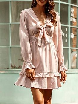 Smart Waist Bow Front Pink Short Dress