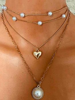 Heart Faux Pearl Multi Layered Chain Retro Necklace