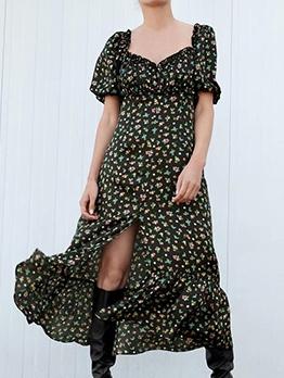Vintage Style Puff Sleeve Floral Midi Dress