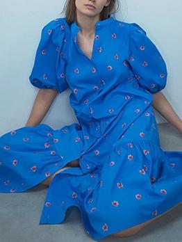 Lantern Sleeve Embroidery Loose Ladies Dress
