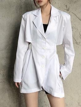 Waist Cut Single-Breasted Solid Blazer Dress
