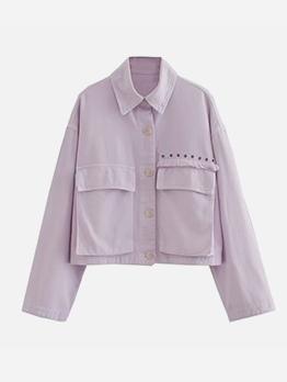 Turndown Collar Purple Denim Jackets