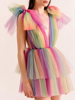 Ice Cream Color Multi-Layer Gauze Tuxedo Skirt