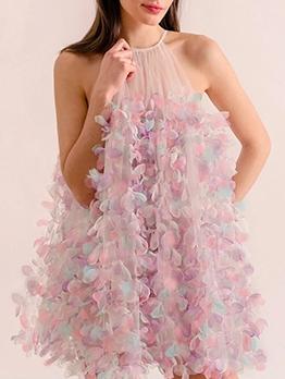 Stereo Flower-Embroidered Sleeveless Women Dress