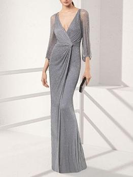 V Neck Elegant Long Sleeve Evening Dresses