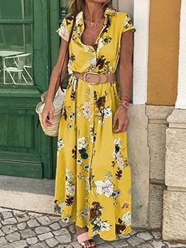 Fashion Printed Turndown Collar Women Maxi Dress