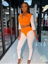 Contrast Color Zipper Up Tracksuit For Women