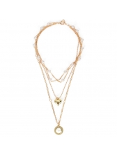Heart Faux Pearl Multi Layered Chain Retro Necklace