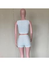 Striped Sleeveless High Waist Workout Clothes