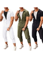 Solid Button Up Short Sleeve Cargo Jumpsuit