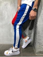 Color Block Drawstring Skinny Pants For Men