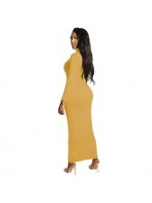Lady Pure High Collar Long Sleeve Maxi Dress