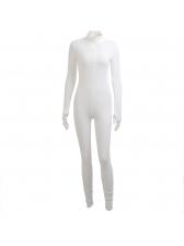 Casual Pure Long Sleeve Zipper Skinny Jumpsuits