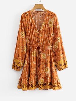 V Neck Printed Ruffled Long Sleeve Dress