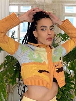 Vintage Paint Jacquard Weave Long Sleeve Cardigan Sweater