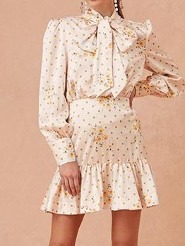Polka Dots Bow Tie Neck Long Sleeve Dress