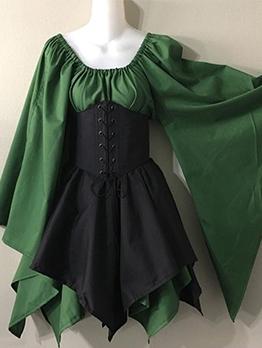 Retro Medieval Flare Sleeve Dress For Women