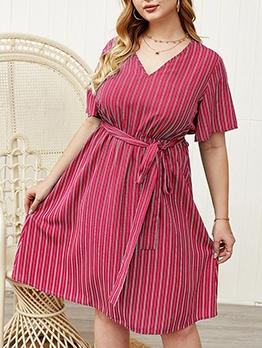 Casual v Neck Striped Plus Size Dresses
