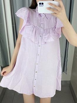Ruffle Detail Single-Breasted Purple Mini Dress