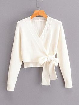Tie Wrap V Neck White Knitting Sweater For Women