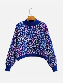 Lantern Sleeve Print Pullover Oversize Sweater