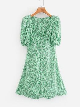 Puff Sleeve Single-Breasted Green Ladies Dress