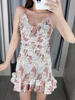 Ruffled Detail Floral Shirred Sundress For Women