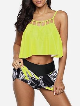 Contrast Color Printed Plus Size Tankini Swimwear