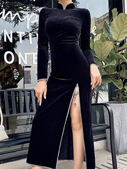 Stand Collar Velvet High Split Black Maxi Dress