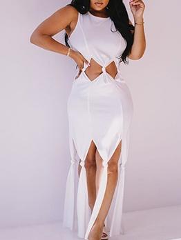 Stylish Twist Hollow Out Sleeveless Maxi Dress