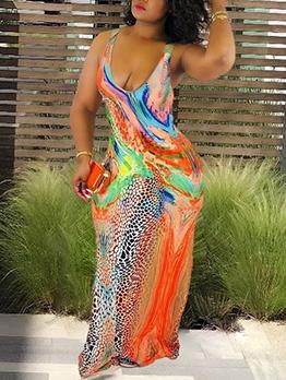 Mixed Color Printed Low-Cut Sleeveless Maxi Dress