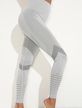 Solid High Waist Elastic Yoga Leggings For Women