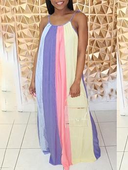 Color Block Casual Sleeveless Maxi Dress