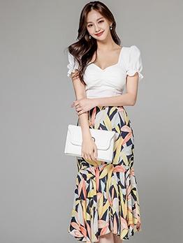 Fashion Solid Printed Mermaid Two Piece Skirt Set