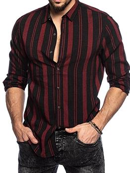 Fashion Stripe Button Up Lapel Shirt For Man