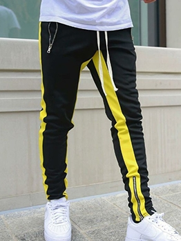 Contrast Color Skinny Pants For Man