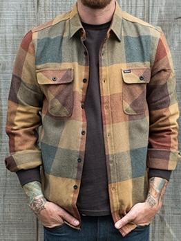 Fashion Plaid Lapel Man T-Shirt With Pocket