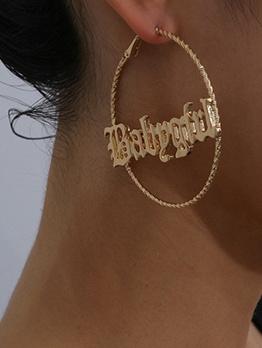 Solid Retro Simple Round Women Earrings