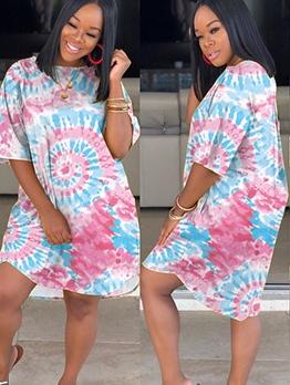 Casual Short Sleeve Tie Dye Women Dress