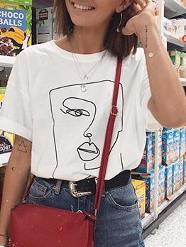 Euro Design Abstract Line Face Print Cotton Tee