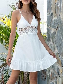 Backless Hook Flower White Sleeveless Dress