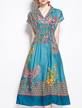 Chain Print Fitted Short Sleeve Midi Dress Elegant