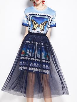 Butterfly Print Women T Shirt Dress With Gauze Skirt