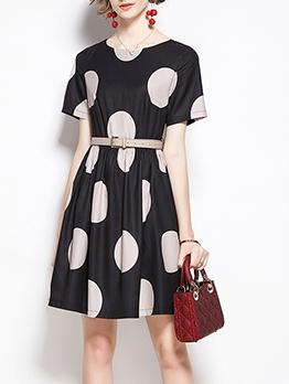 Polka Dot Short Sleeve Black Women Dress