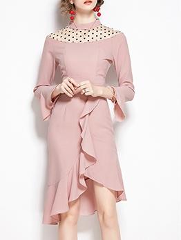 Gauze Polka Dot Patch Flare Sleeve Elegant Dress