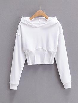Solid Color Long Sleeve Crop Hoodies For Women