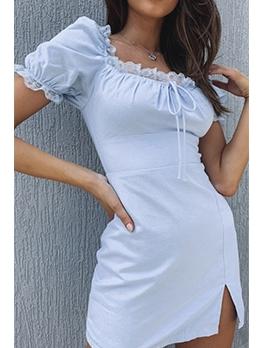 Stringy Selvedge Detail Square Collar Vintage Dress